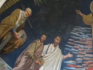 Detail showing Pope Felix IV, and Saints Damian and Paul