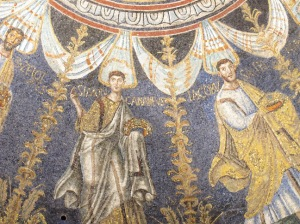 Senatorial apostles, detail, Orthodox Baptistery, Ravenna
