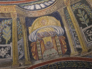 Hetiomasia, detail, Orthodox Baptistery, Ravenna