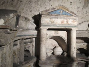 Tomb of Granius Nestor and Vimileia Hedone, with some urns intact.