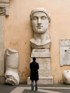 Head and partial arm of the monumental statue of Constantine from the Basilica