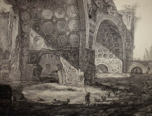 Ruins of the Basilica of Maxentius, Gianbattista Piranesi, mid 18th century