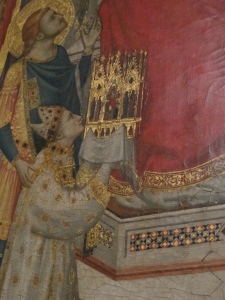 Cardinal Giacomo Stefaneschi donating the altarpiece to Saint Peter. Detail, Stefaneschi Altarpiece.