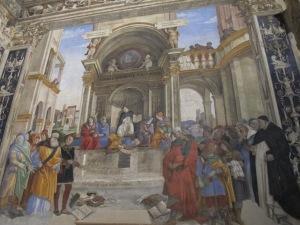 St Thomas Aquinas crushing heresy, Carafa Chapel.
