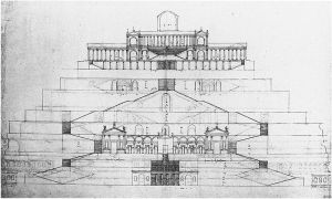 "Temple of Fortuna Primagenia, Palestrina, reconstruction drawn by Andrea Palladio in his ""Four Books of Architecture"" (pub. 1570)"